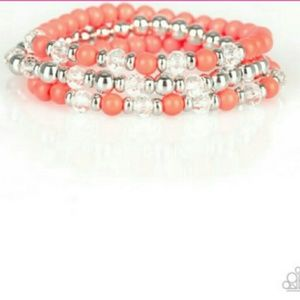 Orange and silver 3 layer bracelet